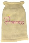 Princess Rhinestone Knit Pet Sweater LG Cream